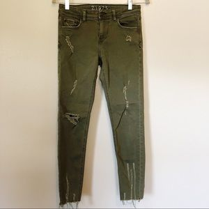 ZARA Green Destroyed Skinny Ankle Jeans